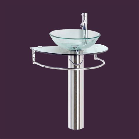 contemporary bathroom pedestal sinks pedestal sinks glass stainless demi lune glass pedestal