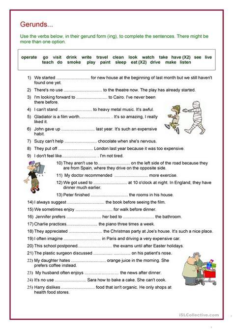 verb gerund review worksheet  esl printable