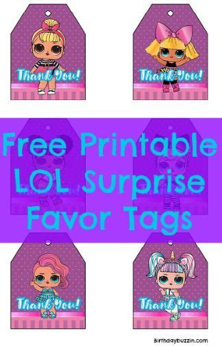 printable lol surprise favor tags diy  crafts