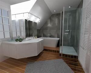 Salle De Bain En L : r novation salle de bain grise rennes pac bains et solutions ~ Melissatoandfro.com Idées de Décoration