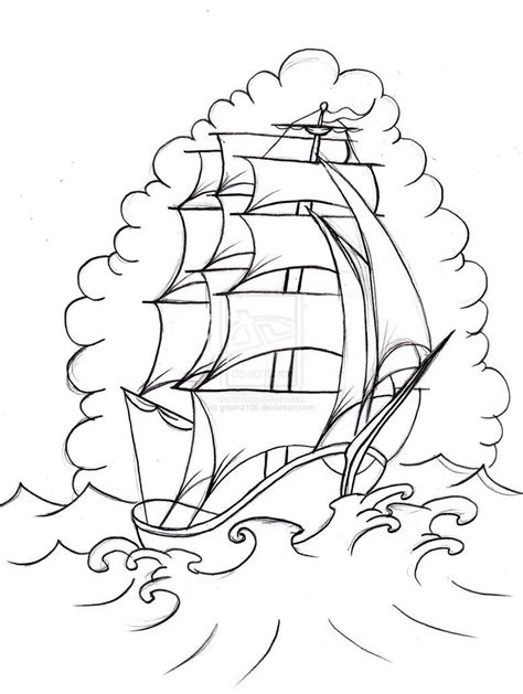 Boat Outline Tattoo by Old School Boat 2 By Green2106 On Deviantart Meart