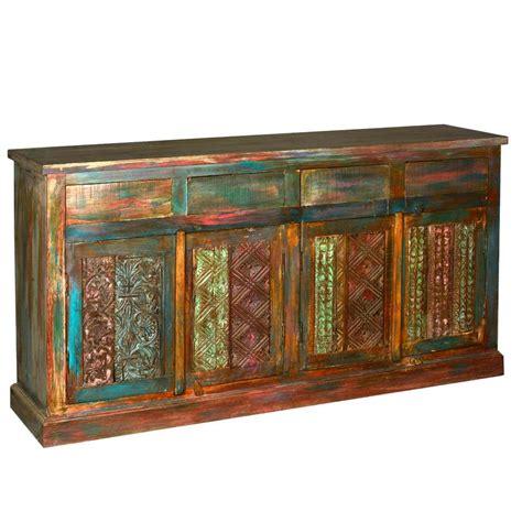 Coloured Sideboards by Reclaimed Wood Sideboard Multi Color 4 Door Storage Buffet