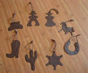 8 large country western cowboy tin christmas tree ornaments cactus hat horse new ebay