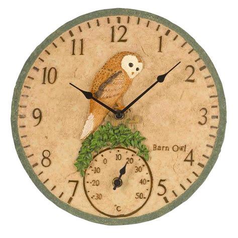 outdoor clocks barn owl the garden factory