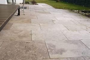 Platten Für Garten : braune travertin noce platten als bodenbelag f r die terrasse travertin ~ Orissabook.com Haus und Dekorationen
