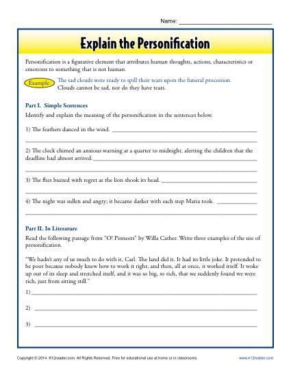 Explain The Personification  Figurative Language Worksheets
