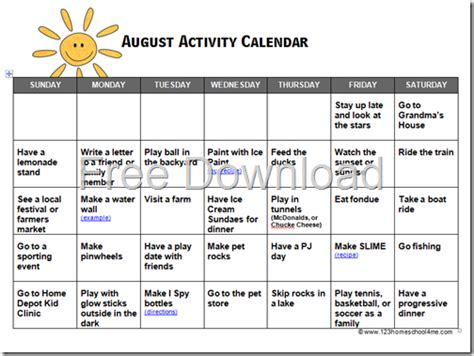 homeschool freebies and sales 7 22 s wandering 237 | august activity calendar