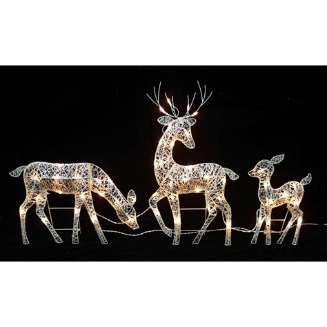 outdoor reindeer decorations 30 in glittered doe fawn with reindeer lighted