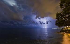 Lightning Clouds Night Storm Ocean HD wallpaper | nature ...