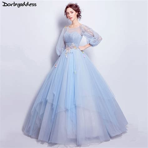 Light Blue Elegant Ball Gown Wedding Dresses Long Sleeve