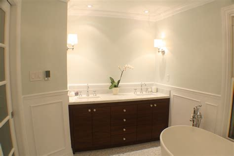 walnut bathroom cabinets transitional bathroom