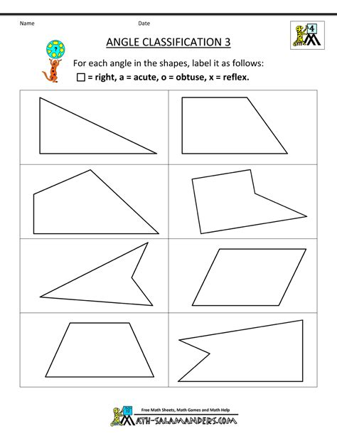 4th grade math worksheets angle classification 3 fifth