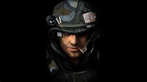 artwork black background military smoking soldiers