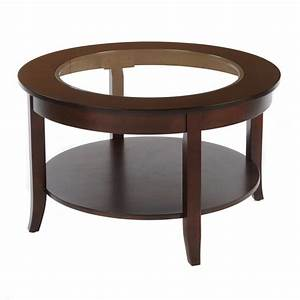 Bianco collection espresso 30 inch round glass top coffee for 30 inch round glass top coffee table