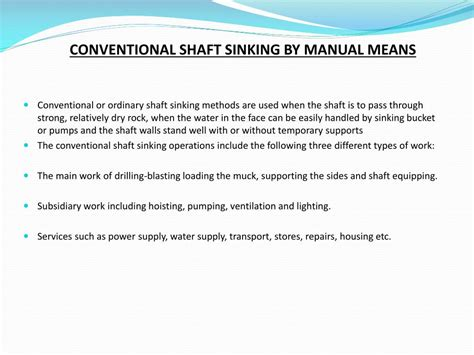 conventional shaft sinking  manual means powerpoint  id