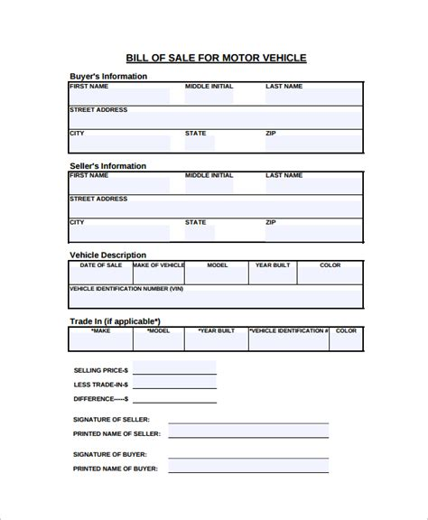 free bill of sale form for car sample motorcycle bill of sale 7 free documents