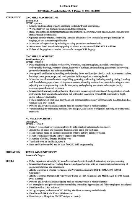 Machinist Resume by Mill Machinist Resume Sles Velvet