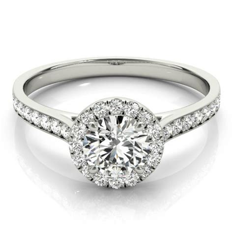 forever one moissanite halo engagement ring 14k