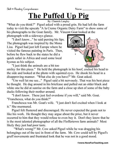 Resource  Reading Comprehension  The Puffed Up Pig Reading Comprehension Worksheet