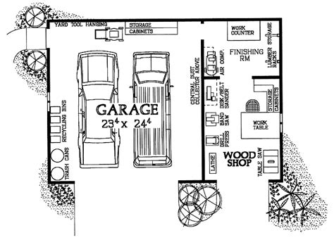 woodshop garage combo hwbdo house plan  workshopgarage pinterest