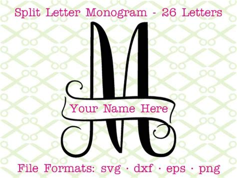 banner split monogram svg cricut silhouette files svg dxf eps png monogramsvgcom  svg designs