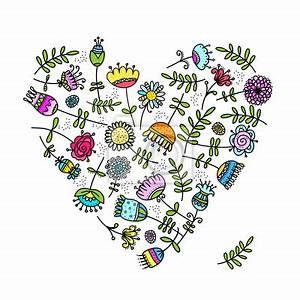 Blumen Bilder Gemalt : naklejka szkic z kwiat w serca do projektowania na wymiar sztuka pi kno elegancja ~ Orissabook.com Haus und Dekorationen