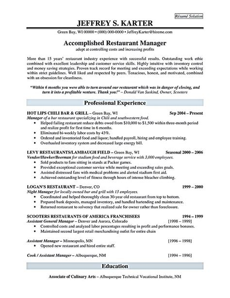 Restaurant Manager Resume Objective by Restaurant Manager Resume Will Ease Anyone Who Is Seeking