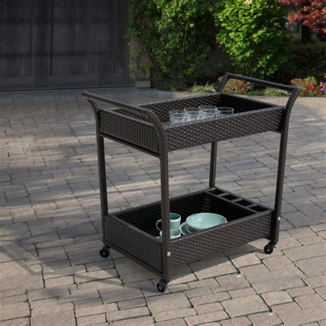 sirio crafted resin wicker outdoor serving cart with