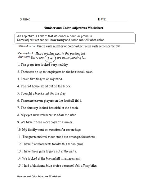 color and number adjective worksheets color of
