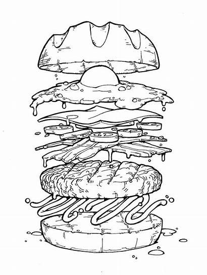 Burger Drawing Clipart Draw Hamburger Exploded Egg