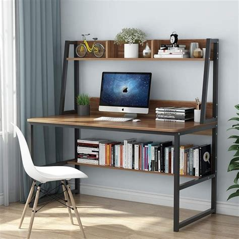 shop computer desk with hutch and bookshelf 47 quot home