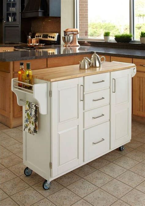 home styles create  cart white kitchen cart  natural