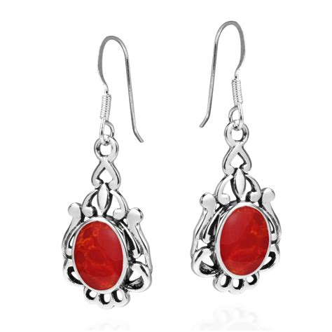 925 Sterling Silver Coral Earrings vintage style oval coral 925 silver earrings