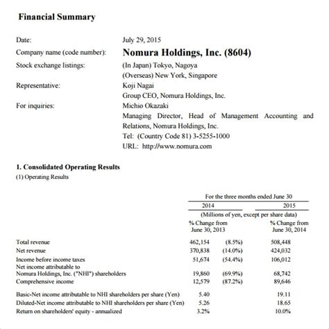 financial summary samples examples templates