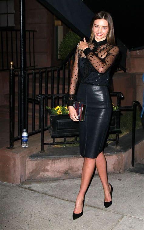 miranda kerr black leather skirt style fashion