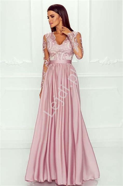 sukienka dla druhny na wesele suknia wieczorowa z rozcięciem pudrowy r 243 ż lejdi pl
