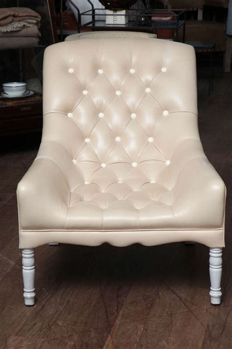 Leather Tufted Chair And Ottoman by Leather Tufted Chair And Ottoman At 1stdibs
