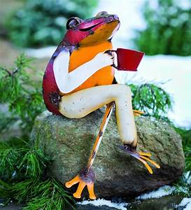 Recycled Metal Coffee Frog Garden Art Fresh Garden Decor