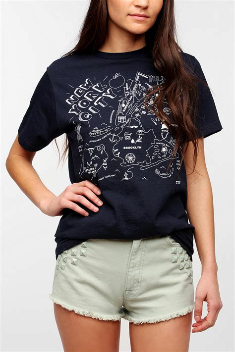 Lyst - Urban Outfitters Maptote New York City Map Tee in Blue