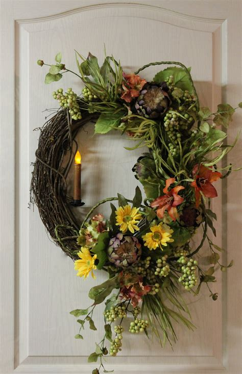items similar to front door wreath country candle wreath