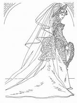 Barbie Coloring Pages Gown Bridal Bride Bridesmaids Dolls Younger Wonderful Give Flower Gift sketch template