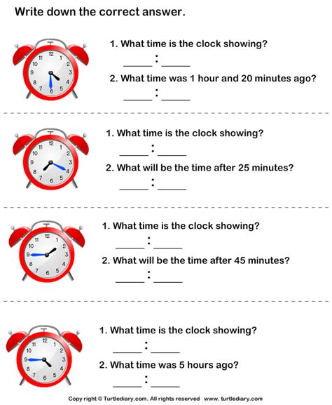 read analog clock  find  time worksheet turtle diary