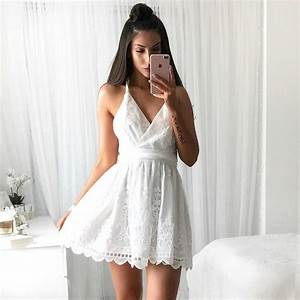 A-Line V-Neck Backless Short White Lace Homecoming Dress ...