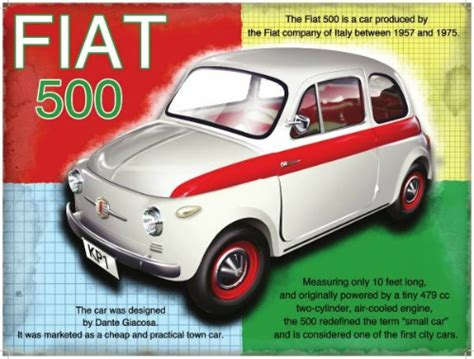 Fiat Sign by Fiat 500 Metal Wall Sign 3 Sizes