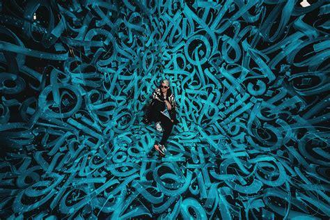 calligraphy murals  futuristic fashion  pokras