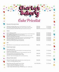 44 price list samples templates pdf doc With cake price list template