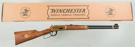 lot  winchester  commemorative lever action rifle   case antiques