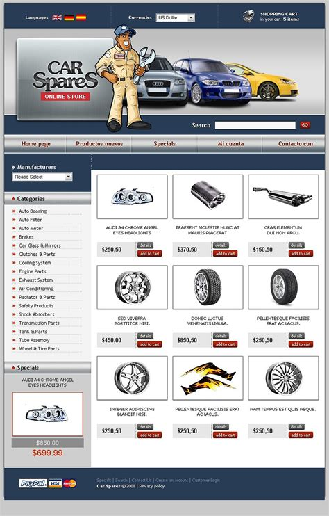 auto parts oscommerce template