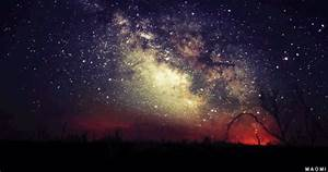 trees alone night space galaxy stars nature time lapse ...