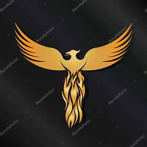 Golden Phoenix Bird logo — Stock Vector © deskcube #71816961